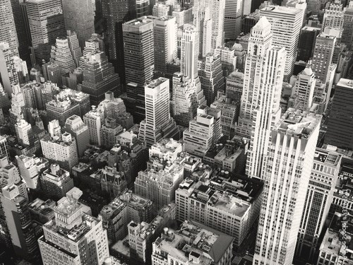 Black and white view of midtown New York City
