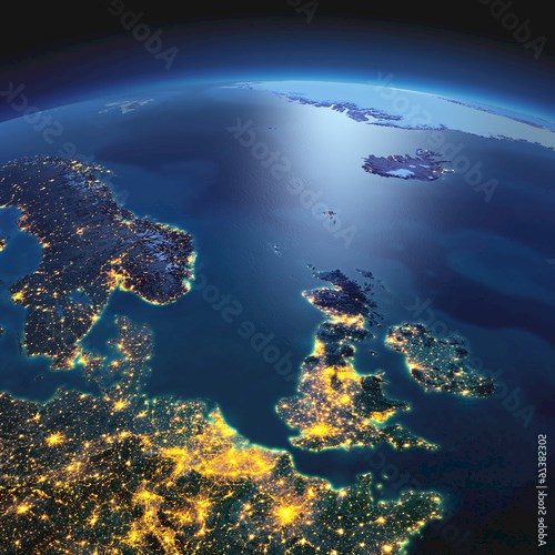 Detailed Earth. United Kingdom and the North Sea on a moonlit ni