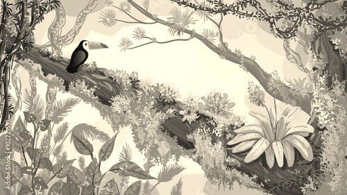 Jungle forest. Illustration of toucan sitting on the tree