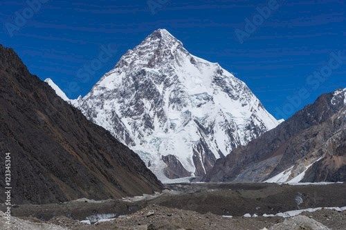 K2 mountain peak view from Concordia camp