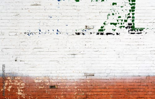 White and red brick wall urban Background.