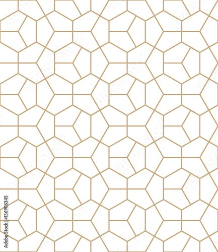 Abstract geometry gold deco art hexagon pattern