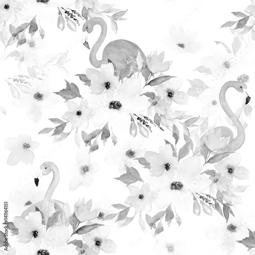 Watercolor seamless pattern. Floral print with flamingo