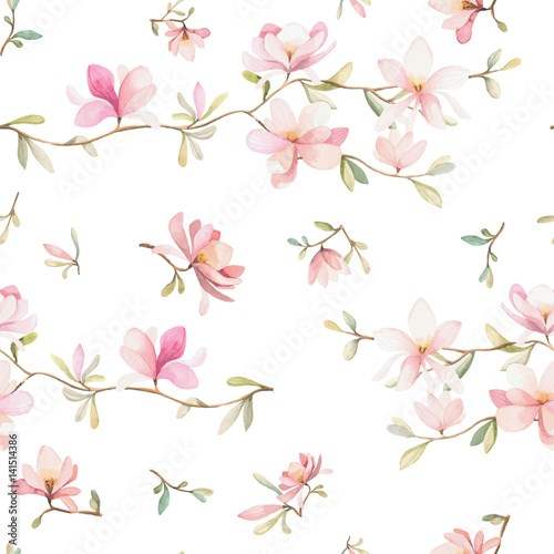 Seamless floral pattern with magnolias on a white background, watercolor. Vector illustration.