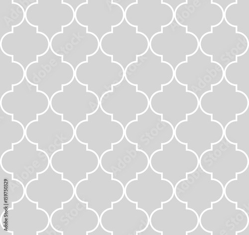 Quatrefoil geometric seamless pattern, background, vector illustration in mint blue, soft turquoise color and white.