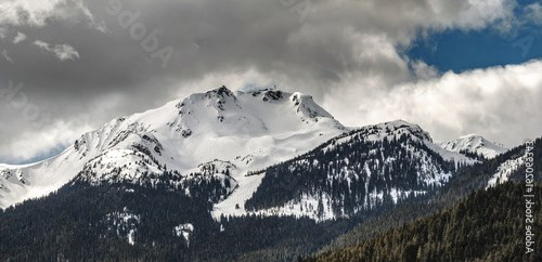 The peak of Whistler Mountain in winter