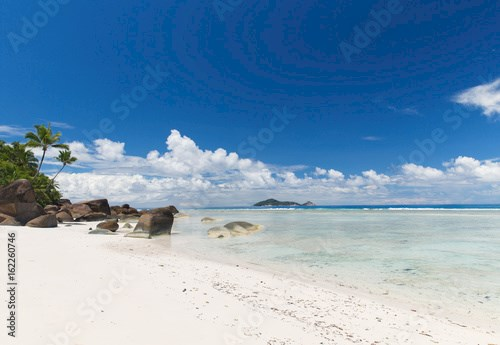 island beach in indian ocean on seychelles