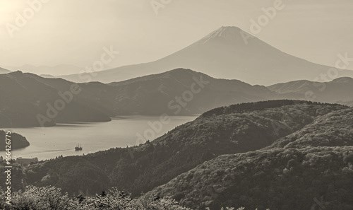 Fuji mountain and lake ashinoko at Hakone.