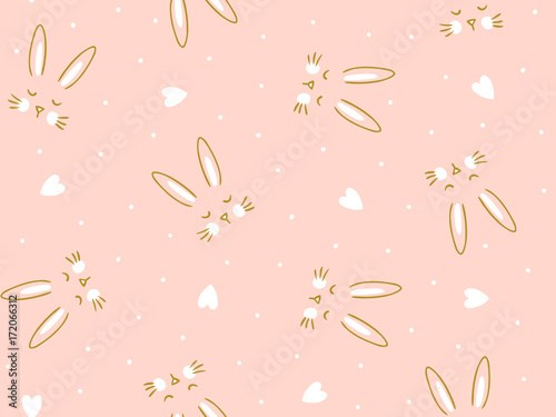 Vector seamless pink  background with  little cute bunny and heart. Hand drawn fabric design.