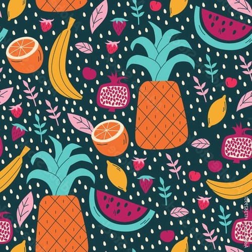 Summer Seamless Pattern with Tropical Fruits.