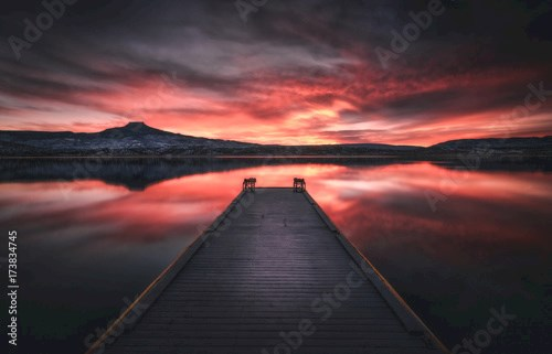 Lake and Dock at Sunset