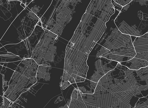 Vector black map of New york