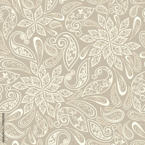 Seamless pattern in ethnic traditional style. Abstract vintage pattern with decorative flowers, leaves and Paisley pattern in Oriental style.