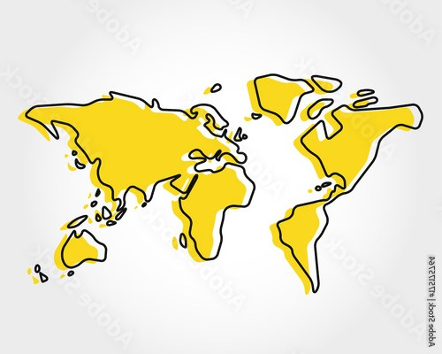 yellow world map with rectangle