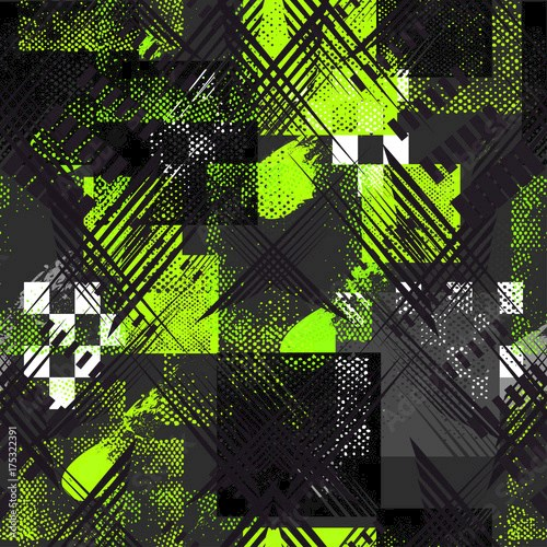 Abstract sport seamless pattern for girls, boys, clothes. Creative sport vector background with geometric figures,stripes. Funny sport wallpaper for textile and fabric. Fashion style. Colorful bright.
