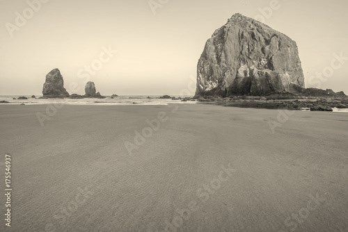 Haystack Rocks Juts Out from Coast
