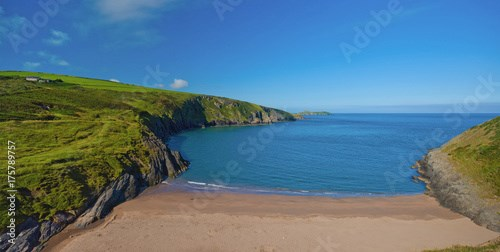 Secluded sandy beach at Mwnt Cove near Cardigan, Wales, UK