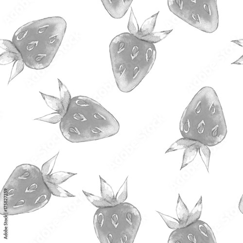 Watercolor seamless pattern with strawberry 1