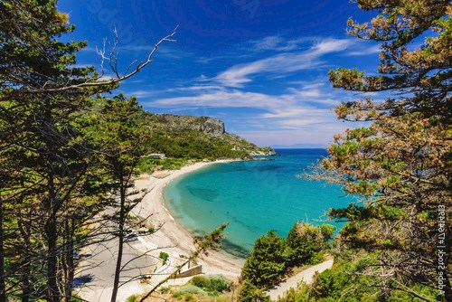 The scenic Potami beach, a popular destination on the Greek island of Samos, Greece