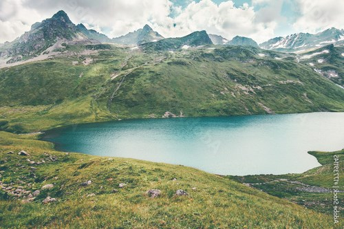 Lake and Mountains range Landscape Summer Travel serene scenic aerial view atmospheric scene
