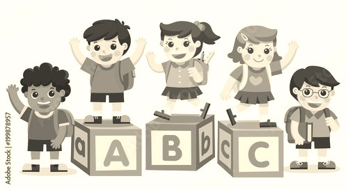 Back to School. Happy school kids with alphabet blocks.