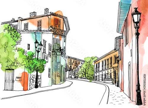 Old town street in hand drawn sketch style. Provence, France, Vector illustration. Small European city. Urban landscape on watercolor colorful background