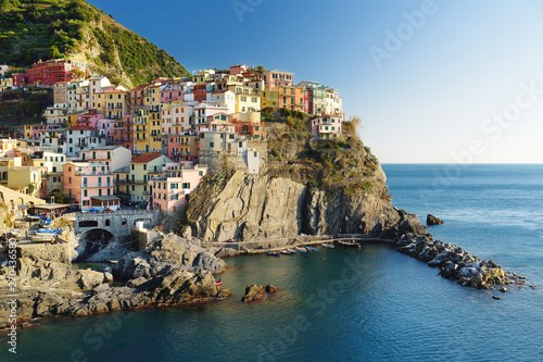 Manarola, one of the most charming and romantic of the Cinque Terre villages, Liguria, northern Italy.