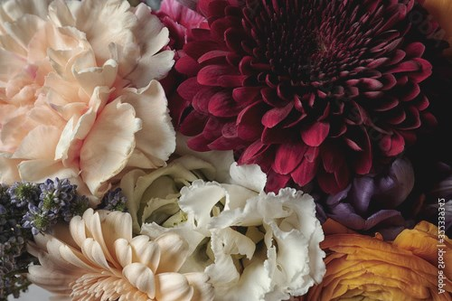 Beautiful bouquet, closeup. Floral card design with dark vintage effect